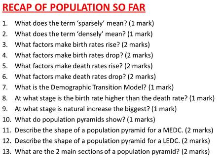 Recap of Population so far