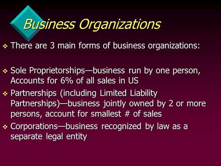 Business Organizations v There are 3 main forms of business organizations: v Sole Proprietorships—business run by one person, Accounts for 6% of all sales.