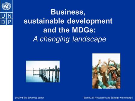 UNDP & the Business SectorBureau for Resources and Strategic Partnerships Business, sustainable development and the MDGs: A changing landscape.