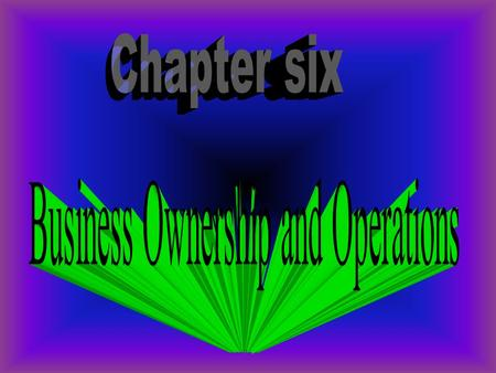 After completing this chapter you will be able to: 1.Name business ownerships 2. Compare the ownerships 3. Describe alternative ways to do business 4.