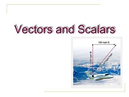 Vectors and Scalars.