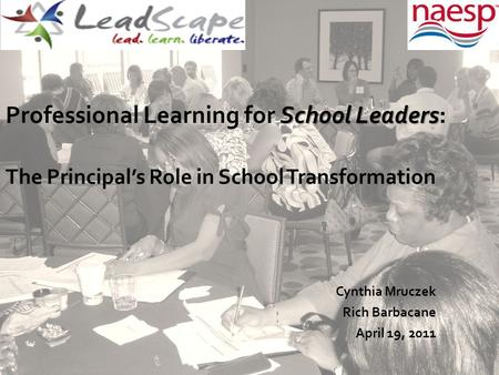 School Leaders Professional Learning for School Leaders: The Principal's Role in School Transformation Cynthia Mruczek Rich Barbacane April 19, 2011.