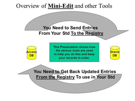 Overview of Mini-Edit and other Tools Access DB Oracle DB You Need to Send Entries From Your Std To the Registry You Need to Get Back Updated Entries From.