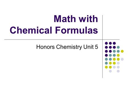 Math with Chemical Formulas