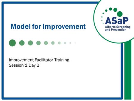Model for Improvement Improvement Facilitator Training Session 1 Day 2.