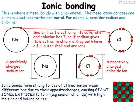 27/08/2015 Ionic bonding This is where a metal bonds with a non-metal. The metal atom donates one or more electrons to the non-metal. For example, consider.