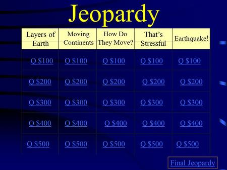Jeopardy Layers of Earth Moving Continents How Do They Move? That's Stressful Earthquake ! Q $100 Q $200 Q $300 Q $400 Q $500 Q $100 Q $200 Q $300 Q $400.