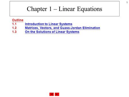 Chapter 1 – Linear Equations
