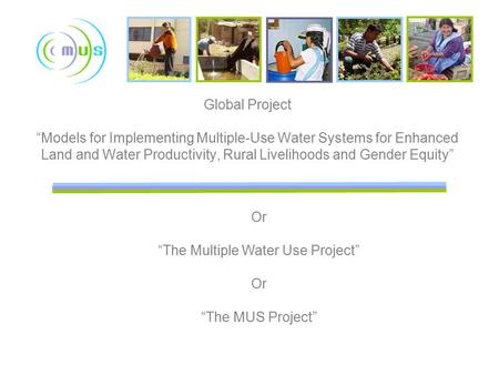 "Global Project ""Models for Implementing Multiple-Use Water Systems for Enhanced Land and Water Productivity, Rural Livelihoods and Gender Equity"" Or ""The."