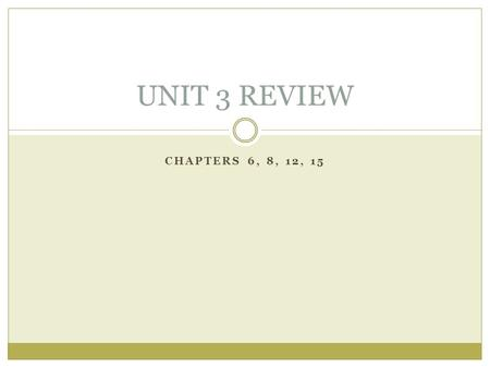 CHAPTERS 6, 8, 12, 15 UNIT 3 REVIEW. THE BRAIN AND BODY Chapter 6.