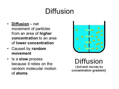 Diffusion Diffusion – net movement of particles from an area of higher concentration to an area of lower concentration Caused by random movement Is a slow.