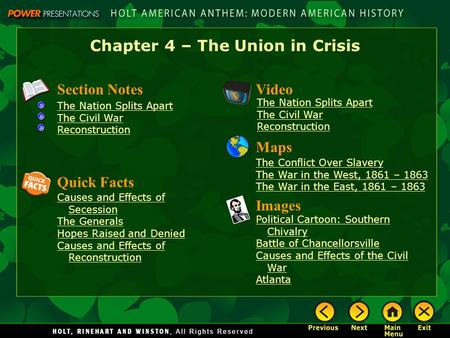 Chapter 4 – The Union in Crisis Section Notes The Nation Splits Apart The Civil War Reconstruction Video <strong>Images</strong> Political Cartoon: Southern Chivalry Battle.