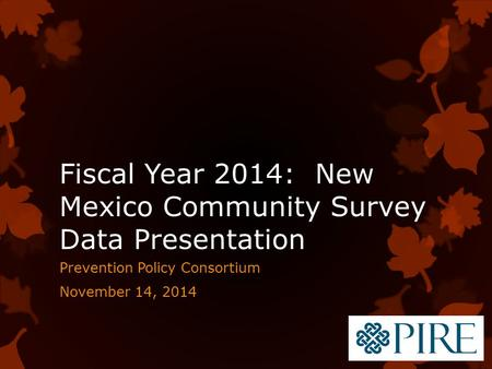 Fiscal Year 2014: New Mexico Community Survey Data Presentation Prevention Policy Consortium November 14, 2014.