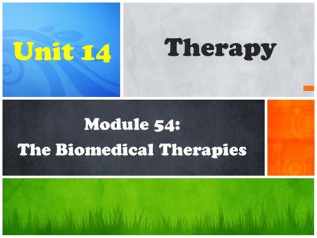 Module 54: The Biomedical Therapies Therapy Unit 14.