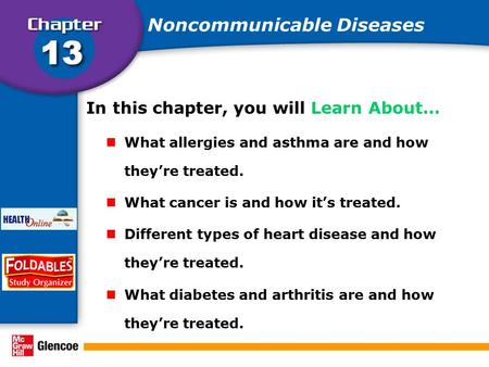 In this chapter, you will Learn About… What allergies and asthma are and how they're treated. What cancer is and how it's treated. Different types of heart.