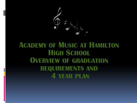 A CADEMY OF M USIC AT H AMILTON H IGH S CHOOL O VERVIEW OF GRADUATION REQUIREMENTS AND 4 YEAR PLAN.
