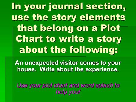 In your journal section, use the story elements that belong on a Plot Chart to write a story about the following: An unexpected visitor comes to your house.