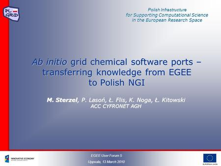 EUROPEAN UNION Polish Infrastructure for Supporting Computational Science in the European Research Space Ab initio grid chemical software ports – transferring.