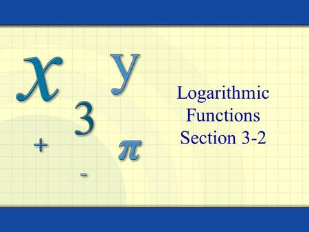 Logarithmic Functions Section 3-2 Copyright © by Houghton Mifflin Company, Inc. All rights reserved. 2 Definition: Logarithmic Function For x  0 and.