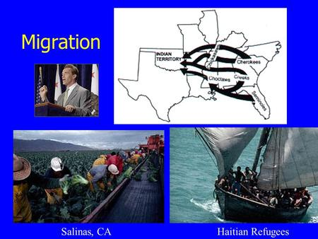 Migration Haitian RefugeesSalinas, CA. Migration – 3 Key Ideas At the end of this section you should be able to explain: 1. Who Chooses to Migrate and.