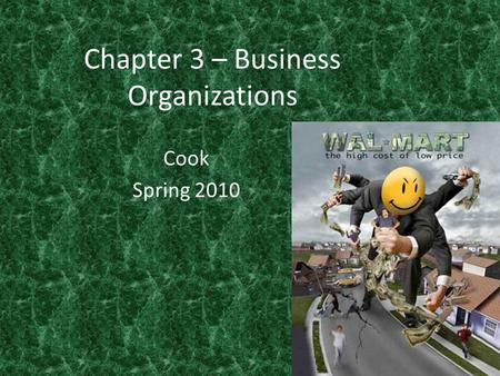 Chapter 3 – Business Organizations Cook Spring 2010.