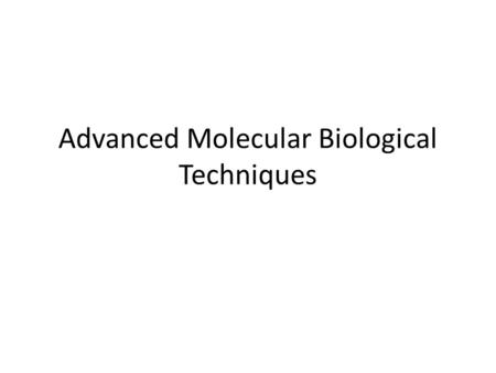 Advanced Molecular Biological Techniques. Polymerase Chain Reaction animation.
