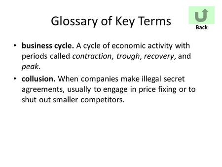 Glossary of Key Terms business cycle. A cycle of economic activity with periods called contraction, trough, recovery, and peak. collusion. When companies.