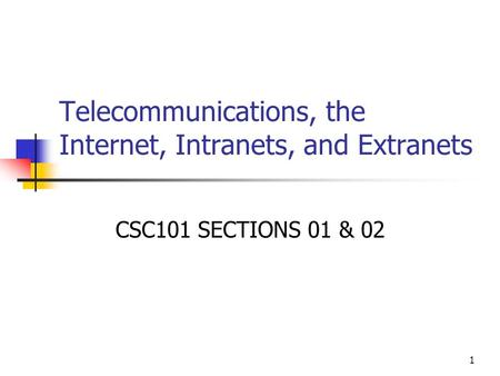 1 Telecommunications, the Internet, Intranets, and Extranets CSC101 SECTIONS 01 & 02.
