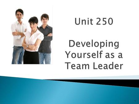 Unit 250 Developing Yourself as a Team Leader