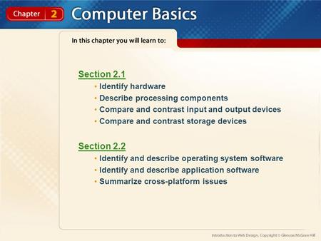 Section 2.1 Identify hardware Describe processing components Compare and contrast input and output devices Compare and contrast storage devices Section.