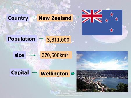 CountryNew Zealand Population 3,811,000 size270,500km 2 Capital Wellington.