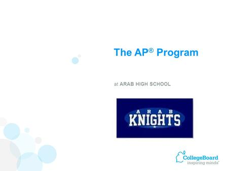 The AP ® Program at ARAB HIGH SCHOOL. 93% of our 2013 graduates pursued post- secondary education. 34% enrolled in four year colleges 59% enrolled in.