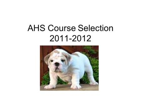 AHS Course Selection 2011-2012. Graduation Requirements Recommended High School Program 26 credits.