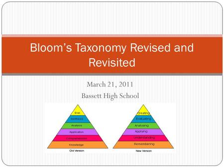 March 21, 2011 Bassett High School Bloom's Taxonomy Revised and Revisited.