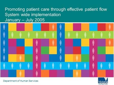 Department of Human Services Promoting patient care through effective patient flow System wide implementation January – July 2005.