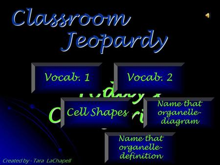 Jeopardy Classroom Today's Categories… Vocab. 1 Vocab. 2 Cell Shapes Name that organelle- diagram Name that organelle- definition Created by - Tara LaChapell.