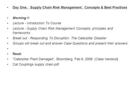 Supply Risk Management Workshop Dr  Kevin McCormack Feb ppt