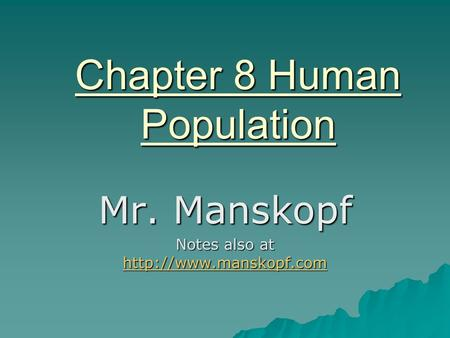 Chapter 8 Human Population