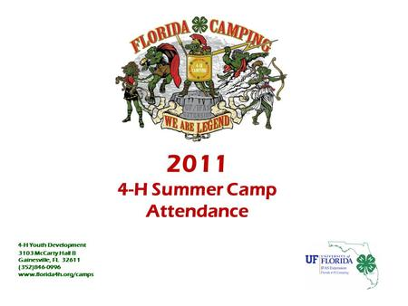2011 4-H Summer Camp Attendance 4-H Youth Development 3103 McCarty Hall B Gainesville, FL 32611 (352)846-0996 www.florida4h.org/camps.