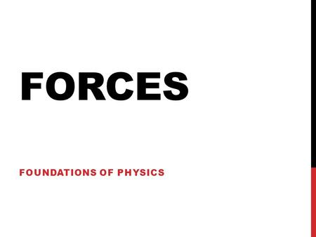 FORCES FOUNDATIONS OF PHYSICS. FORCE Interaction between objects Usually a push or a pull Classified as either contact forces or field forces Contact.