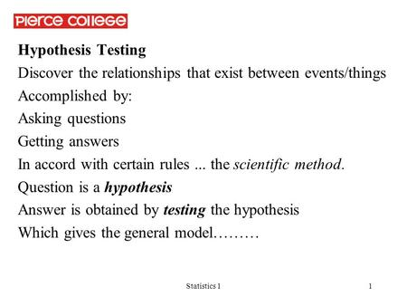 Statistics 11 Hypothesis Testing Discover the relationships that exist between events/things Accomplished by: Asking questions Getting answers In accord.