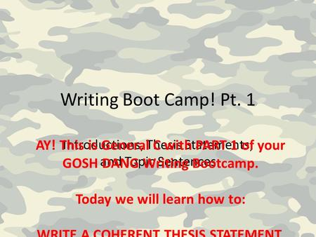 Writing Boot Camp! Pt. 1 Introductions, Thesis Statements, and Topic Sentences AY! This is General C with PART 1 of your GOSH DANG Writing Bootcamp. Today.