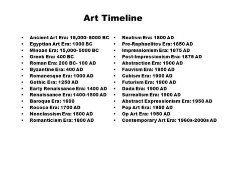 Art Timeline Ancient Art Era: 15,000- 5000 BC Egyptian Art Era: 1000 BC Minoan Era: 15,000- 5000 BC Greek Era: 400 BC Roman Era: 200 BC- 100 AD Byzantine.