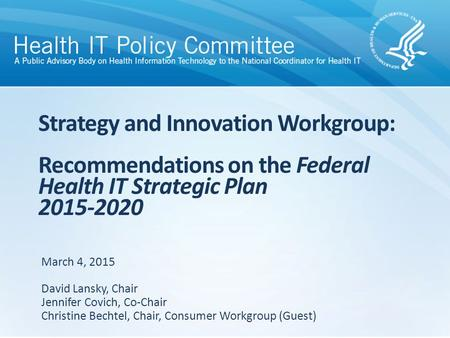 Strategy and Innovation Workgroup: Recommendations on the Federal Health IT Strategic Plan 2015-2020 March 4, 2015 David Lansky, Chair Jennifer Covich,