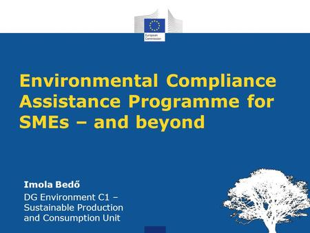 Environmental Compliance Assistance Programme for SMEs – and beyond Imola Bedő DG Environment C1 – Sustainable Production and Consumption Unit.
