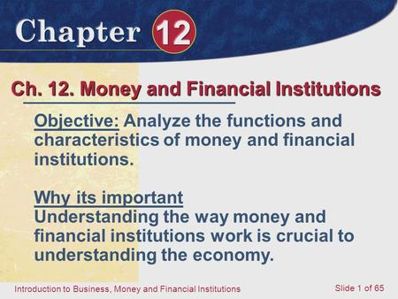 Ch. 12. Money and Financial Institutions