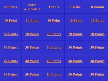 Sides & Leaders PacificRandom 10 Point 20 Points 30 Points 40 Points 50 Points 10 Point 20 Points 30 Points 40 Points 50 Points 30 Points 40 Points 50.