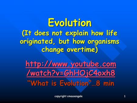 """What is Evolution""…8 min"