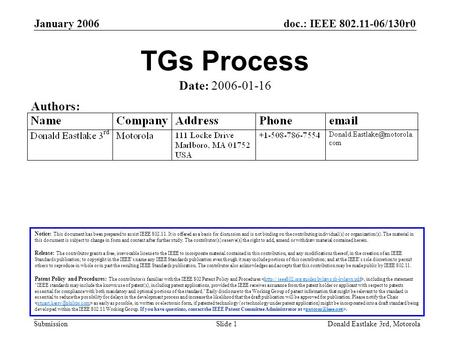 Doc.: IEEE 802.11-06/130r0 Submission January 2006 Donald Eastlake 3rd, MotorolaSlide 1 TGs Process Notice: This document has been prepared to assist IEEE.