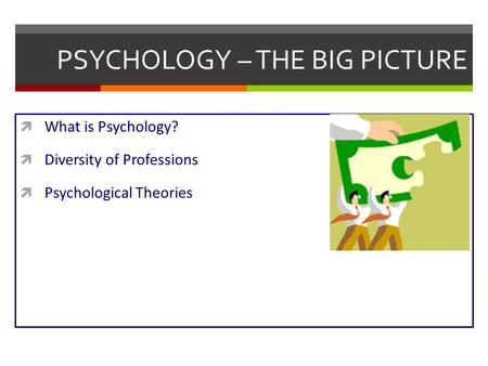 PSYCHOLOGY – THE BIG PICTURE  What is Psychology?  Diversity of Professions  Psychological Theories.